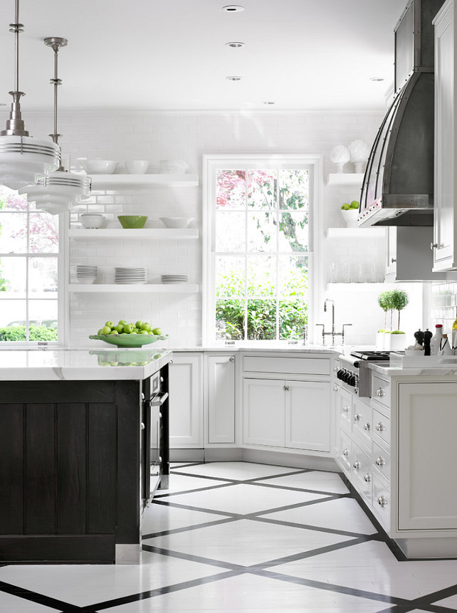 Kitchen White Kitchen With Dark Island Kitchen Painted Floors Kitchen Schoolhouse Pendants Zinc Kitchen Hood Kitchen Open Shelves Kitchen Corner Sink Beth Webb Interiors Kristywicks Com