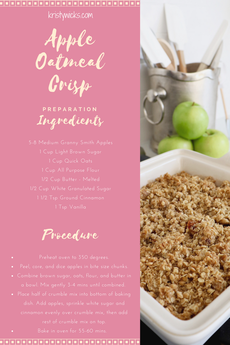 Apple Oatmeal Crisp Recipe Card Kristy Wicks