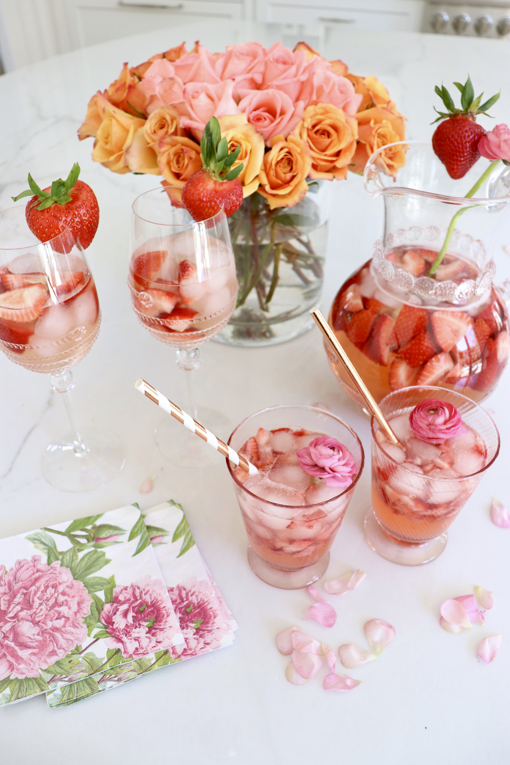 Peach Strawberry Rosé Sangria Recipe (+ Non-Alcoholic Lemonade Version!)