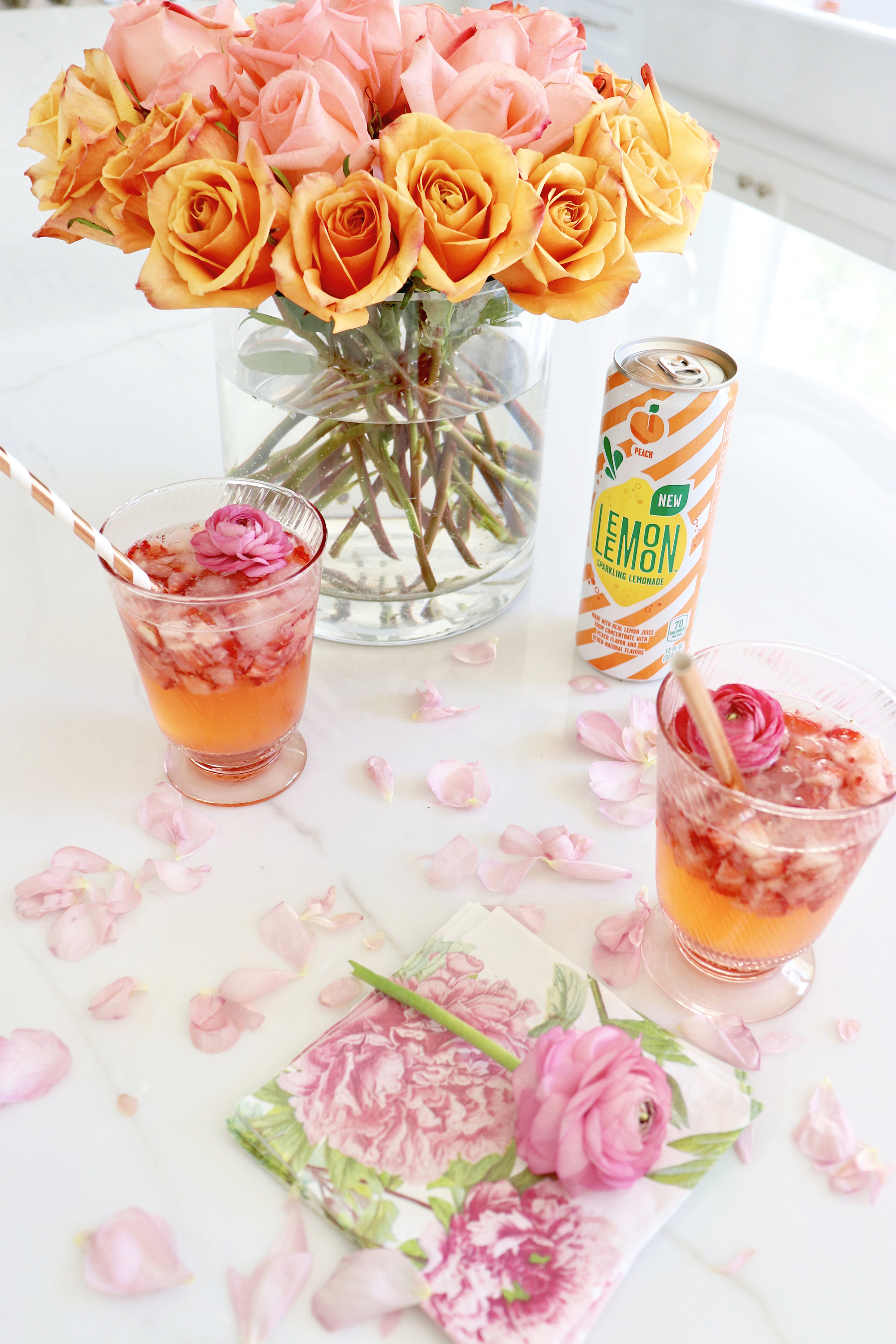 Peach Strawberry Sangria Recipe (+ Non-Alcoholic Lemonade Version!)