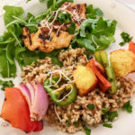 Grilled Chicken Plate, Veggie Skewers and Spanish Rice Recipe