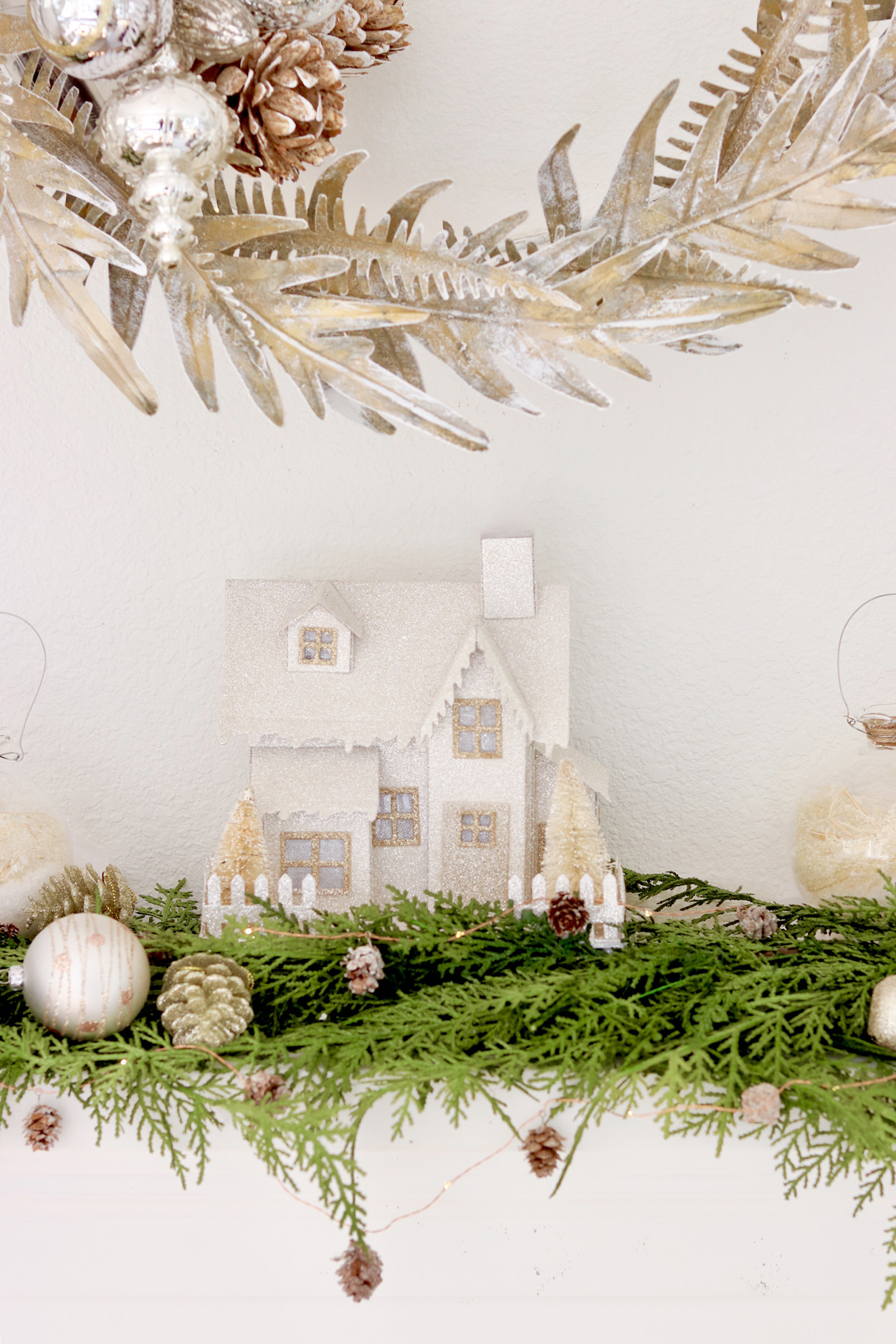 Simple and Neutral Christmas Mantel