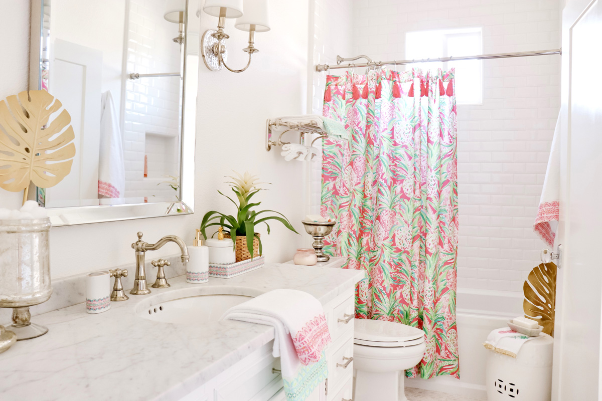 Palm Beach Inspired Guest Bathroom - Lilly Pulitzer for Pottery Barn Review.. How to decorate your powder room with color! | Kristy Wicks