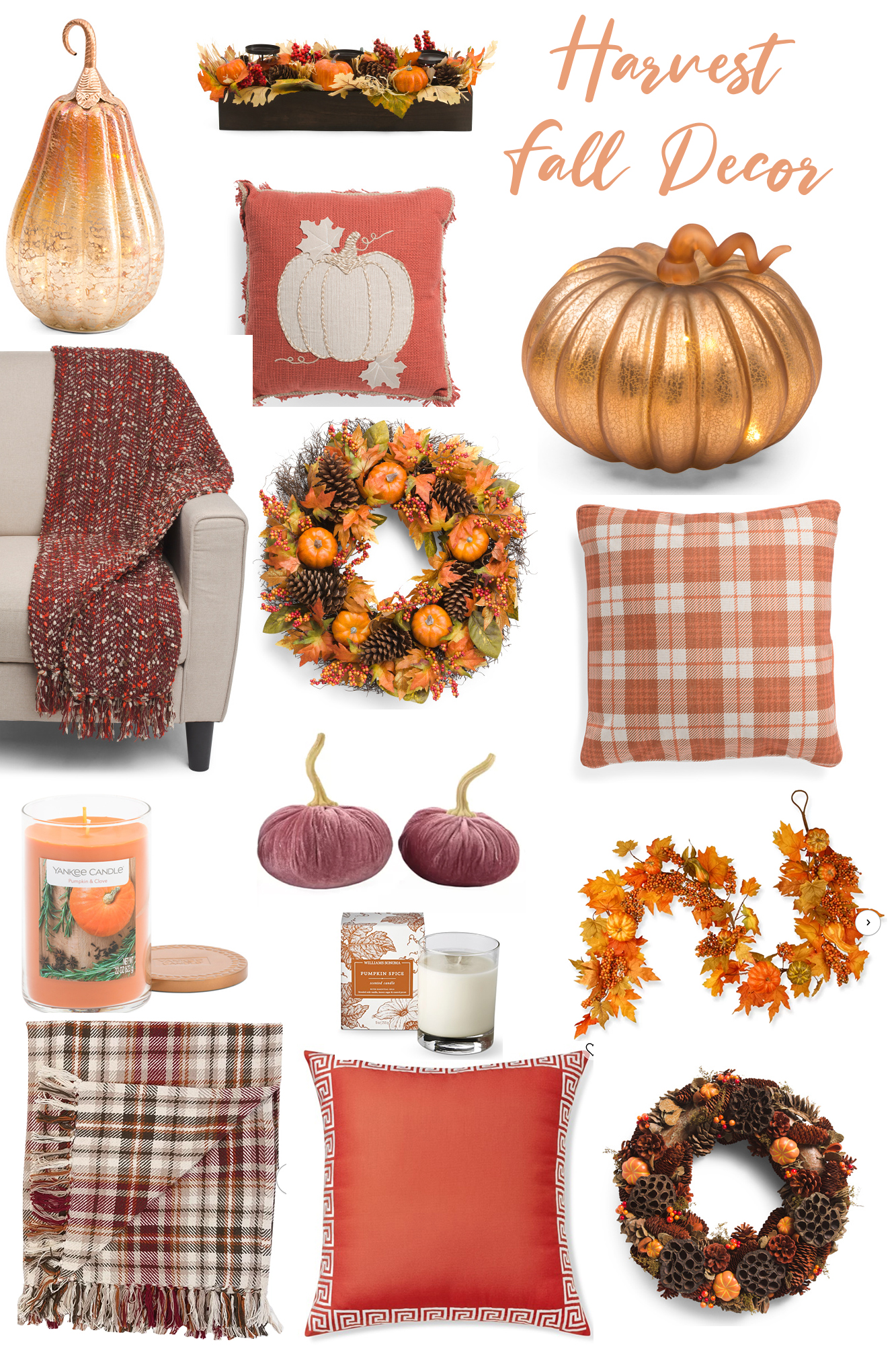 Colorful Fall Outdoor Inspiration and Decor - Pumpkins, harvest, oranges, reds, yellows and more this year. Everything a cozy outdoor space needs in autumn!