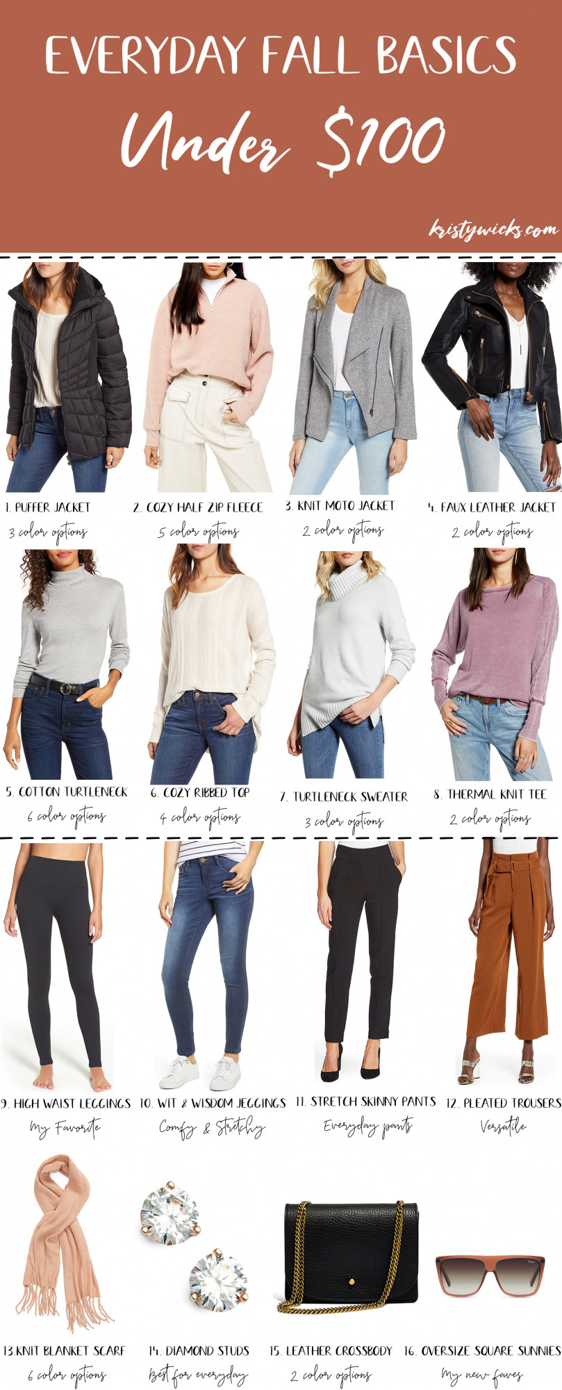 Everyday Fall Basics Under $100 - Fall is all about wearability and comfiness while the weather cools down. We rounded up our favorite autumnal outfits.