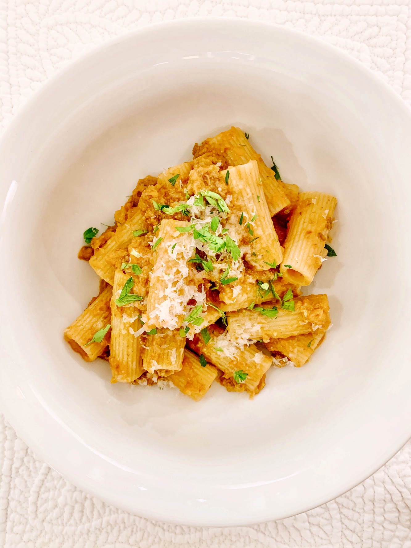 Jeff Wicks Rigatoni Bolognese Recipe - Easiest weeknight dinner that is delicious and quick enough to make. Yummy pasta recipe for weeknight dinners.