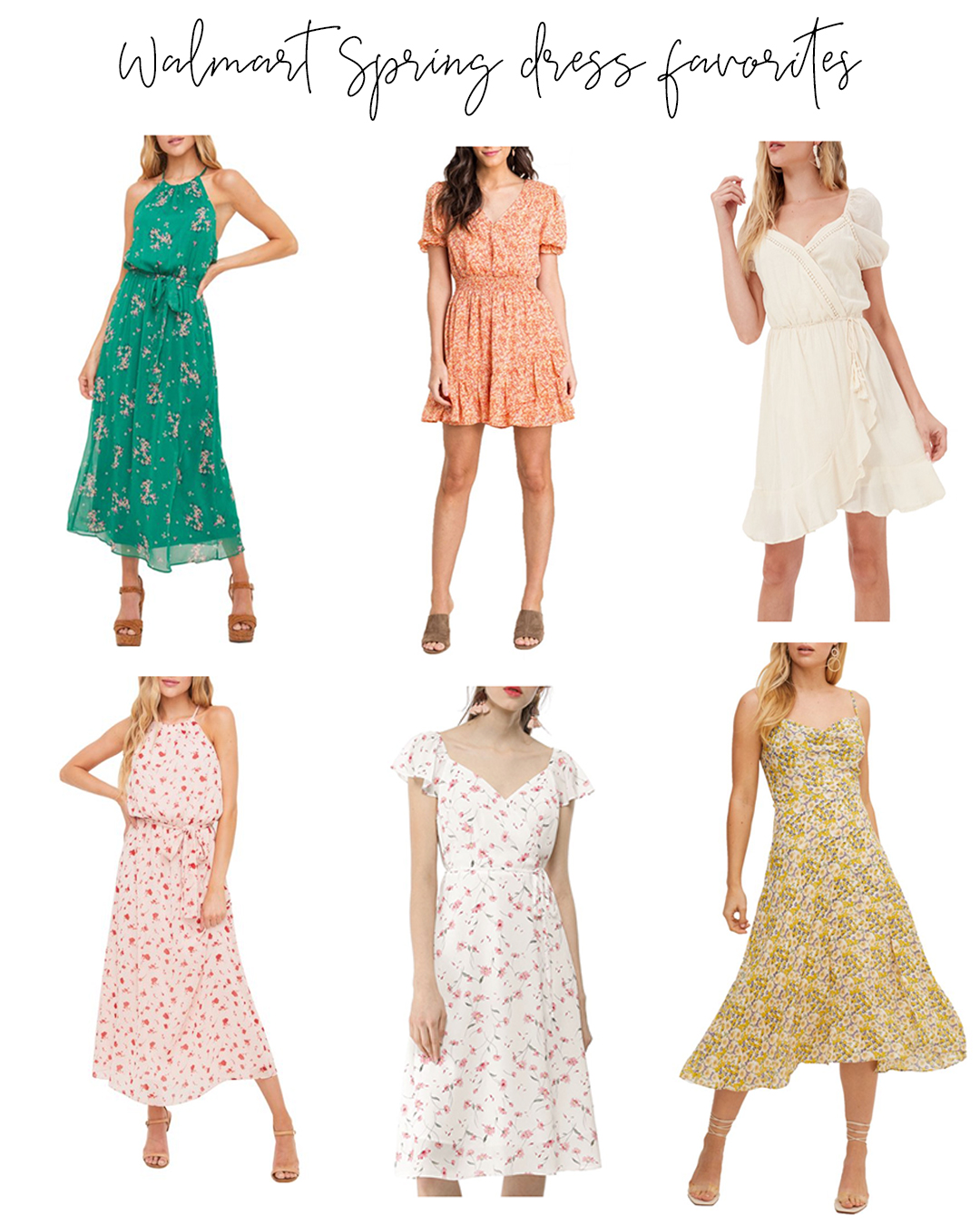 Affordable spring dresses under $50 - roundup of some of my favorite new styles for less. Spring and Summer dress looks + Walmart+ review.