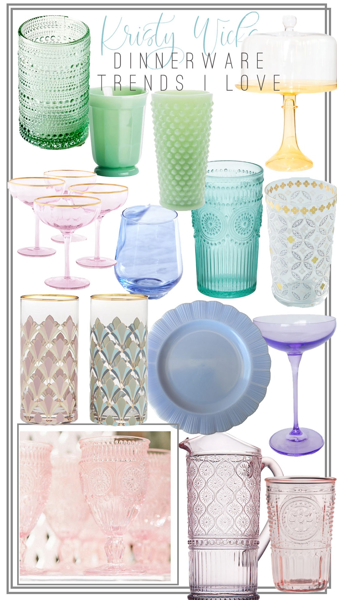 Collage of Dinnerware and Glassware including Milk Glass, Hobnail, Depression Glass, and Art Deco pieces
