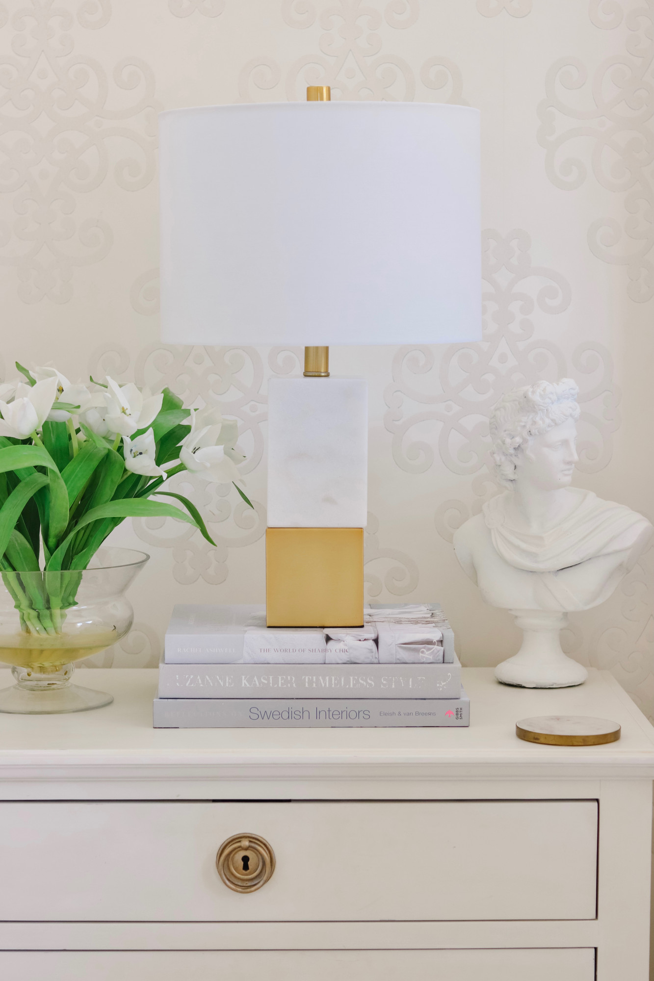 Gold and Marble Lamp Nightstand